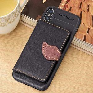 PORTE MONNAIE Coque Housse en cuir magnétique pour iPhone X, ave