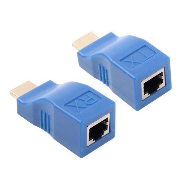 1 Paire Adaptateur Tx Signal Hdmi Extender Adaptateur Rj45 Amplificateur de Signal Transmetteur Récepteur 30 mètres Yua
