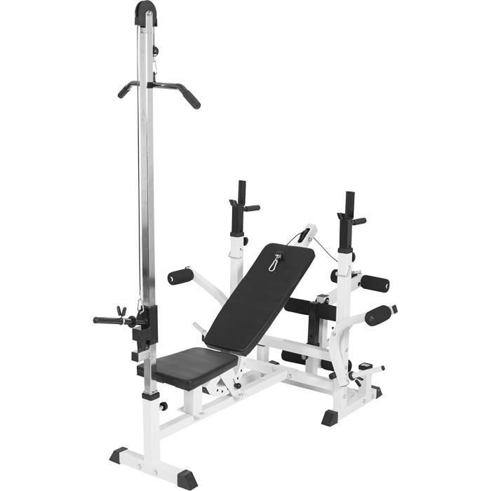 Gorilla Sports Banc de Musculation Universel Complet (Banc + Option poulie)