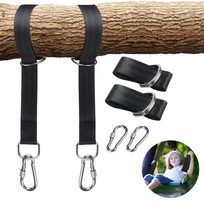 Lot de 2 Sangles Hamac Suspendu Ultra Résistant Kit de Fixation Corde Balançoire Hamac Arbre 5 * 115cm avec 2 Crochets