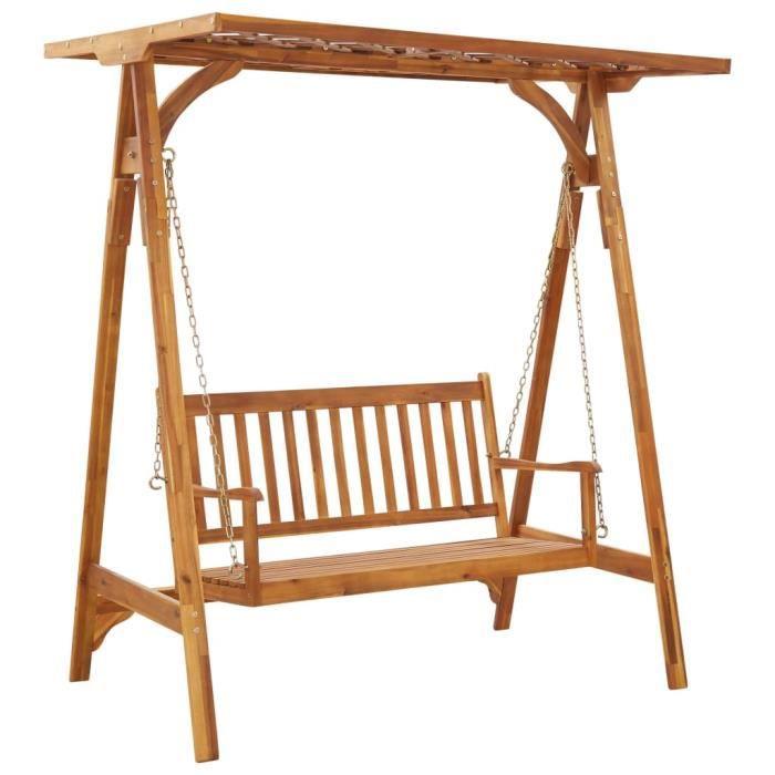 Balancelle de jardin- Grand Confort Toit balançoire exterieur terrasse balcon avec treillis Bois d'acacia solide