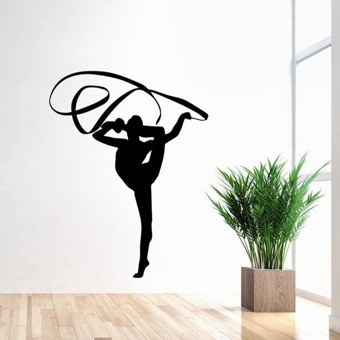 3D silhouette Wall Stickers mural autocollants art maison décor amovible Silhouette de gymnastique de ruban WYK16328