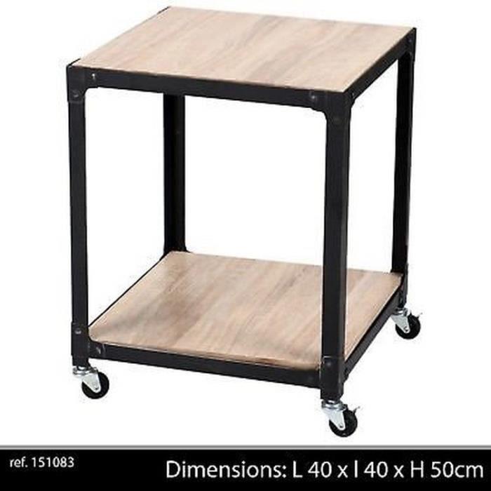 DESSERTE DE BAR ÎLOT A ROULETTE TABLE APPOINT BASSE EN FER BOIS ROUE INDUSTRIEL METAL