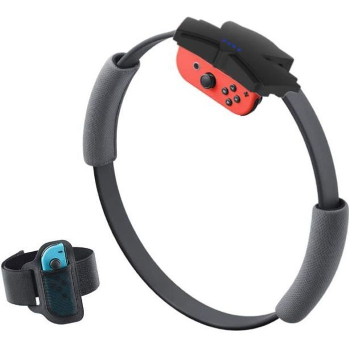 Anneau de fitness somatosensoriel pour interrupteur avec sangle de jambe élastique Ring-Con pour NS Switch Ring Fit Adventure Noir