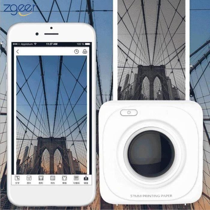 Imprimante photo Portable Bluetooth 4.0 Imprimante photo de téléphone sans fil