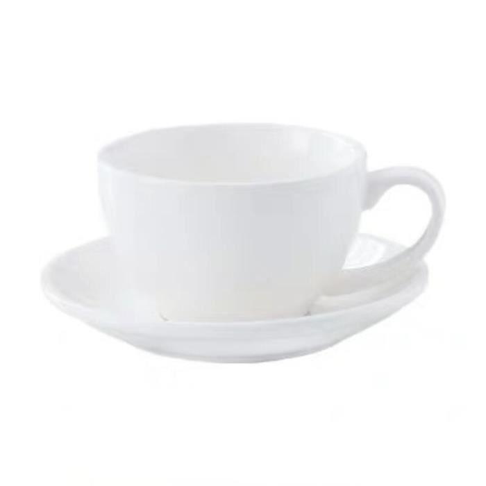 Service à café avec soucoupes,Moderne Simple en céramique Cappuccino tasse à café et soucoupe ensemble 220ml - Type WHITE