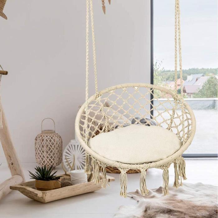 Fauteuil Hamac Suspendue Chaise Relax de Jardin1 Place Intérieur Extérieur en Coton 185x130cm-VIQ