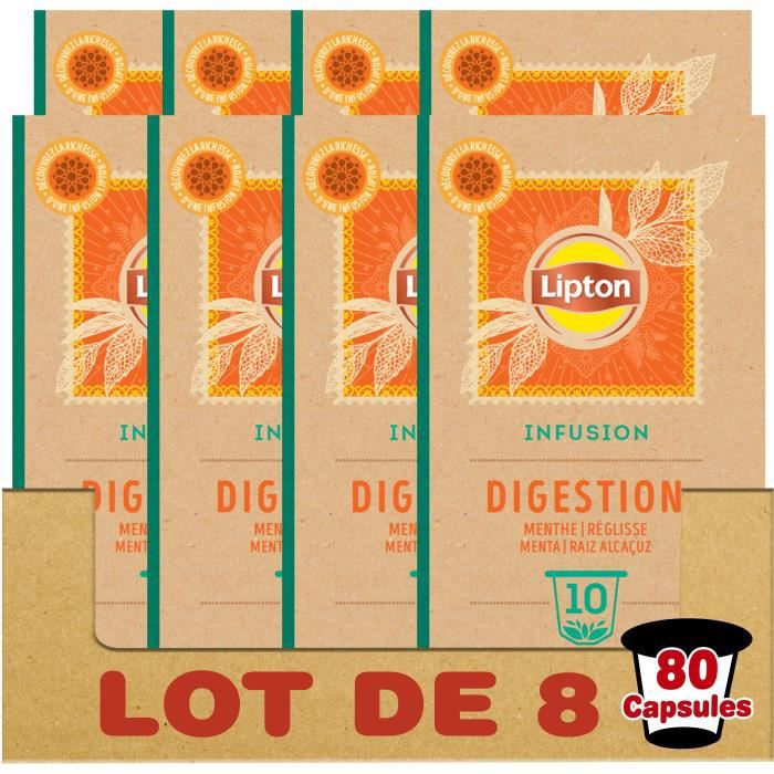 LIPTON Tisane Digestion - Lot de 8 x 10 Capsules