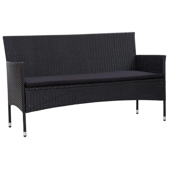 Canapé de Jardin à 3 Places avec Coussins Canapé de Terrasse Canapé de Patio Extérieur Résistant à l'eau Noir Résine Tressée