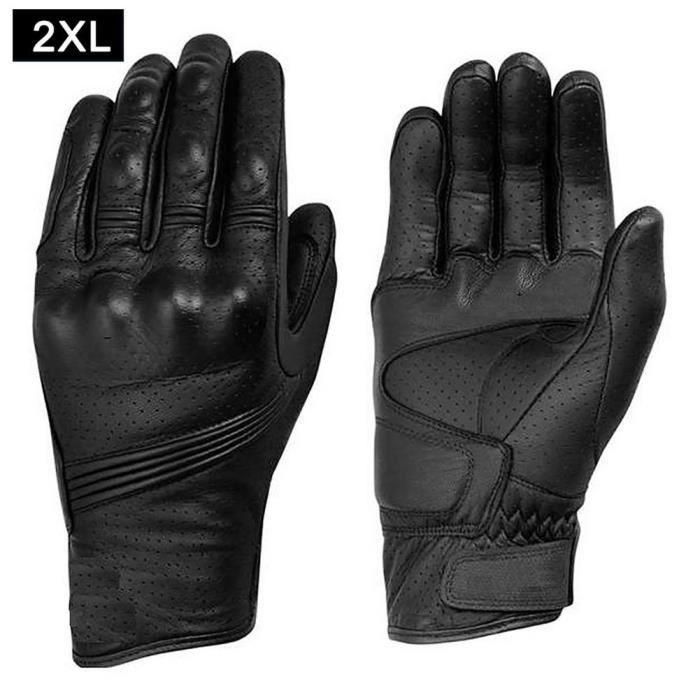 Gants,Gants de Moto en cuir pour hommes, gants d'équitation de vélo, cyclisme, Moto rétro - Type XXL