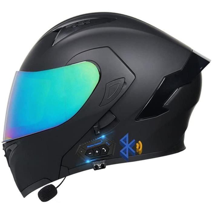 Casque De Moto Bluetooth pour Adulteavec Double Visière,ECE HomologuéCasques Intégraux RacingCasque Modulable Moto Bluetooth In 345