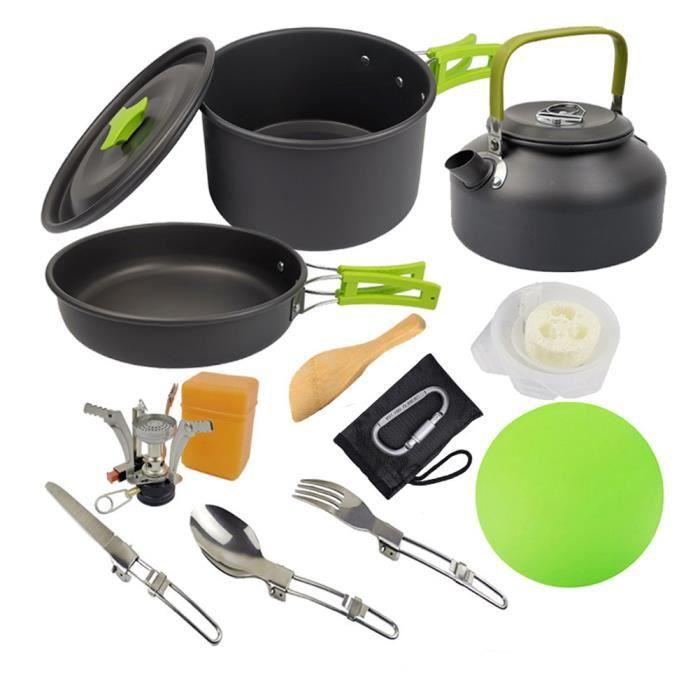 Ustensiles de cuisine Randonnée Pot Batterie de cuisine Kit de pique-nique pour antiadhésives léger BackpackingGreen