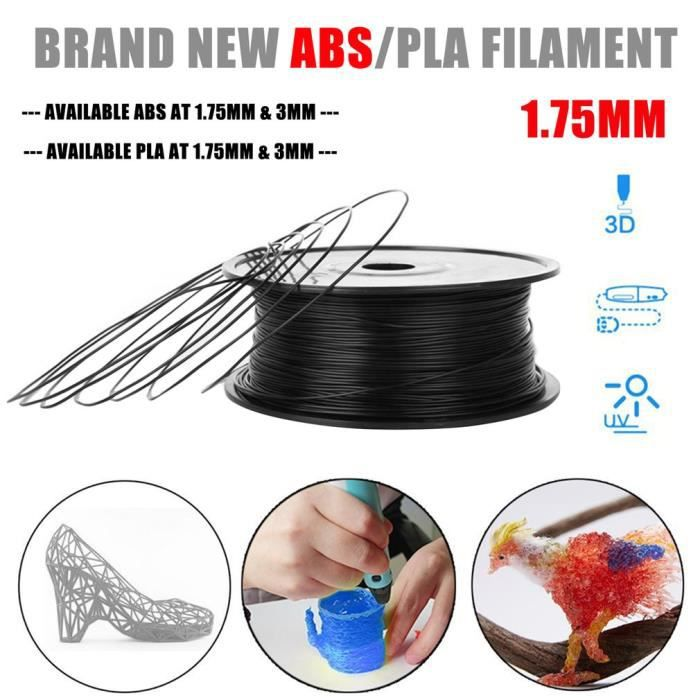 1.75mm 1kg Filament Pla pour Imprimante 3D, stylos 3D 1kg Noir