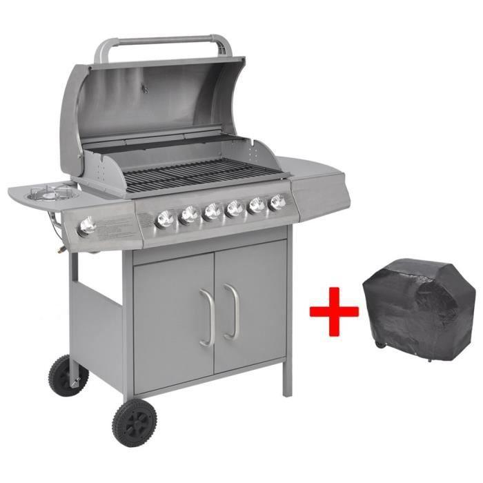 Barbecue gril à gaz Grille de Cuisson 6 + 1 brûleurs Argenté Thermomètre intégré  Portable Camping