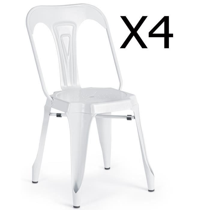 Lot de 4 chaises en métal coloris blanc - L.44 x P.53 x H.83 cm