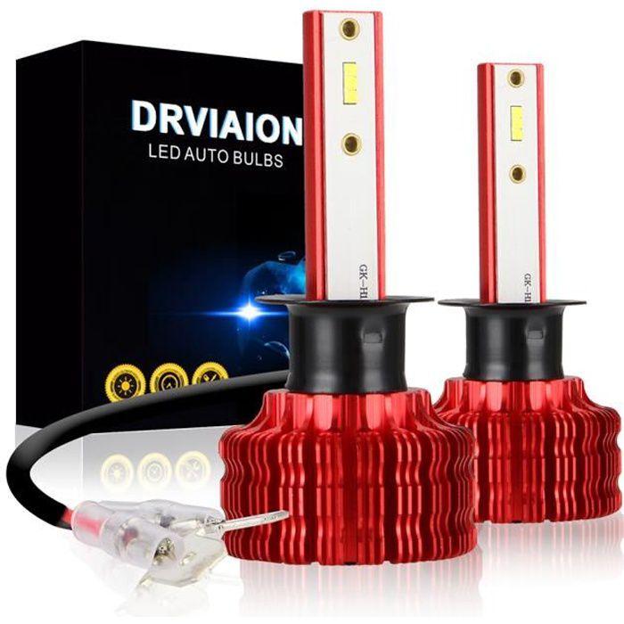 PRUMYA H1 LED Ampoule de phares CSP Puces Mini Design Kit de Conversion de Phare étanche 3000LM Super Brillant 20W 6500K Blanc