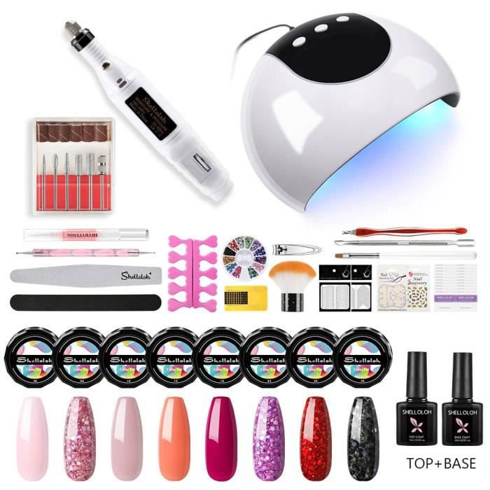 Shelloloh Kit 8 Pots UV Gel Couleur Ongle Art Vernis Semi Permanent UV Gel à Ongle 24W UV/LED Lampe Nail Paillettes Ensemble