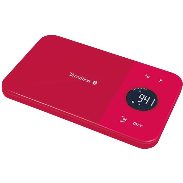 TERRAILLON Balance électronique Bluetooth - 5kg 1g - LCD rouge