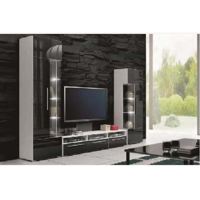 ensemble meuble bas tv design noir avec led andal achat. Black Bedroom Furniture Sets. Home Design Ideas