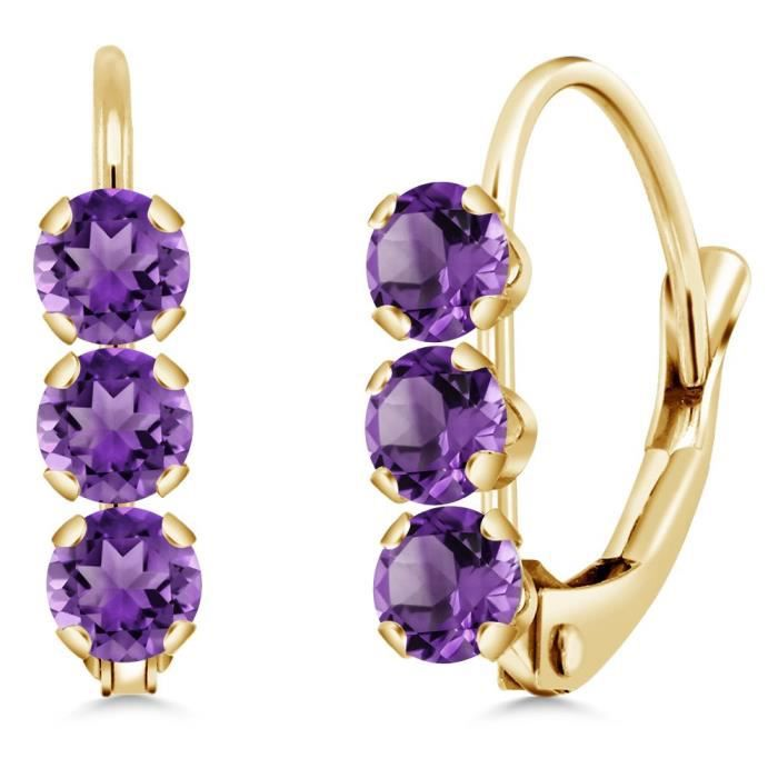 Womens 14k Yellow Gold 0.60 Ct Round Purple Amethyst Leverback Earrings L96Y2