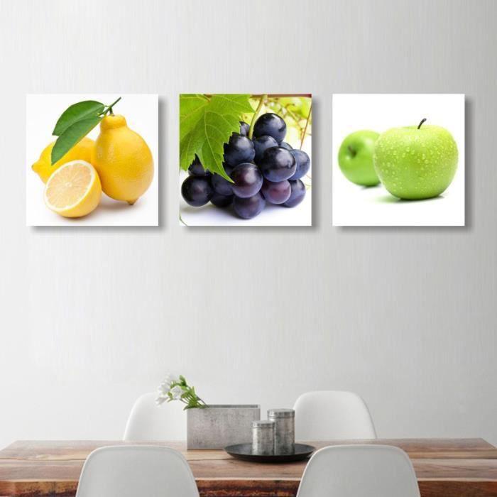 3 Tableaux Restaurant Fruits Imprime Toile Peinture Modulaire