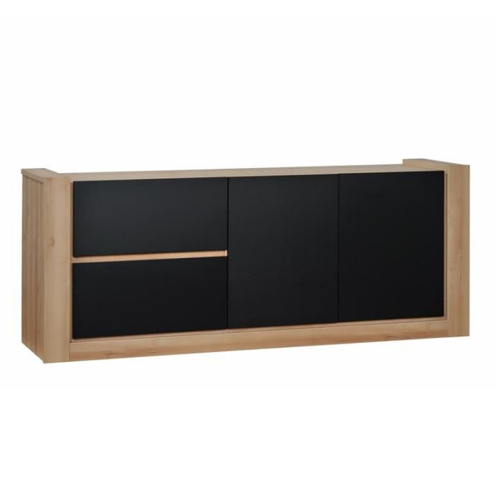 buffet 2 portes 2 tiroirs noir norton l 200 x l 50 x h 80 cm achat vente buffet bahut. Black Bedroom Furniture Sets. Home Design Ideas