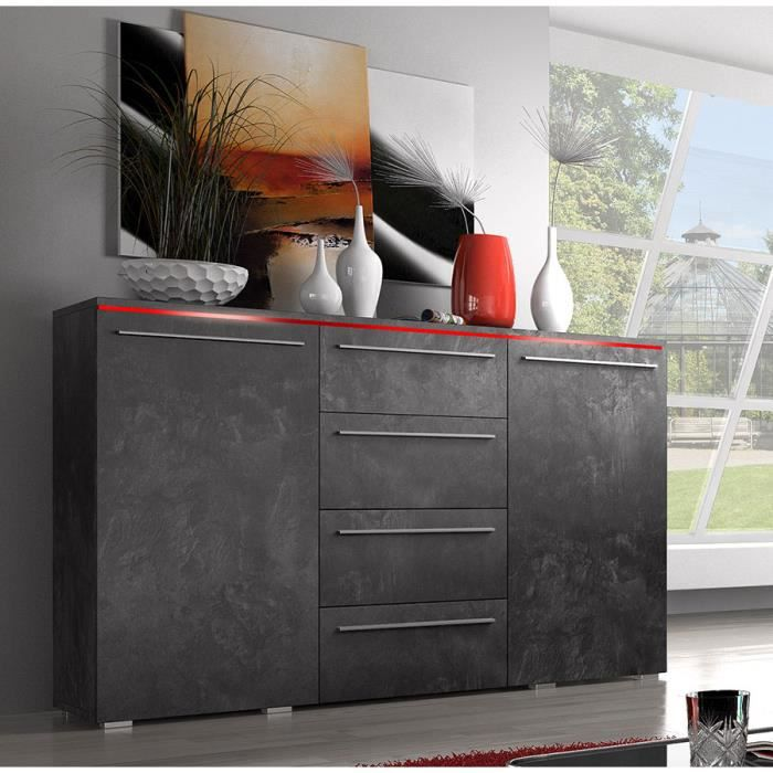 buffet bahut couleur effet b ton cir design canon 3 sans clairage achat vente buffet. Black Bedroom Furniture Sets. Home Design Ideas
