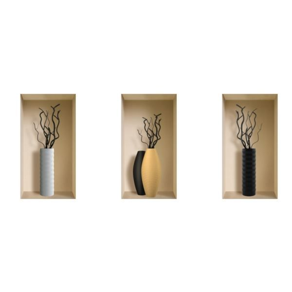 nisha d coration stickers illusion 3d vases l achat vente stickers cdiscount. Black Bedroom Furniture Sets. Home Design Ideas