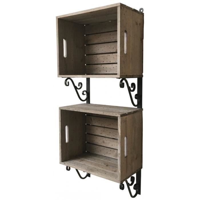 etag re cageots caisses casiers cagettes bois fer murale 93 cm achat vente colonne armoire. Black Bedroom Furniture Sets. Home Design Ideas