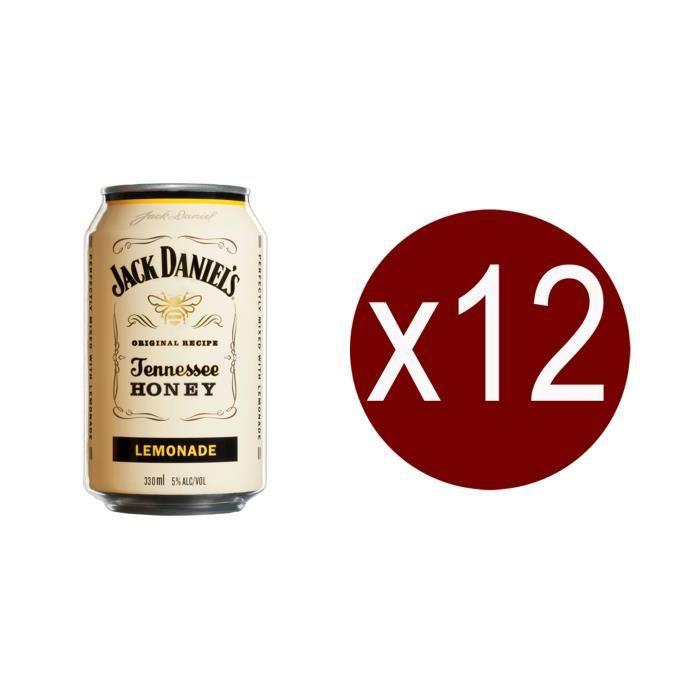 WHISKY BOURBON SCOTCH 12 canettes de Jack Daniel's  honey & lemonade,33