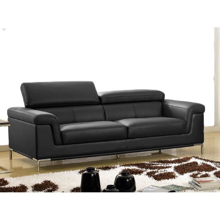 Canap luxe rania 3 places cuir noir design achat vente canap sofa d - But canape cuir 3 places ...