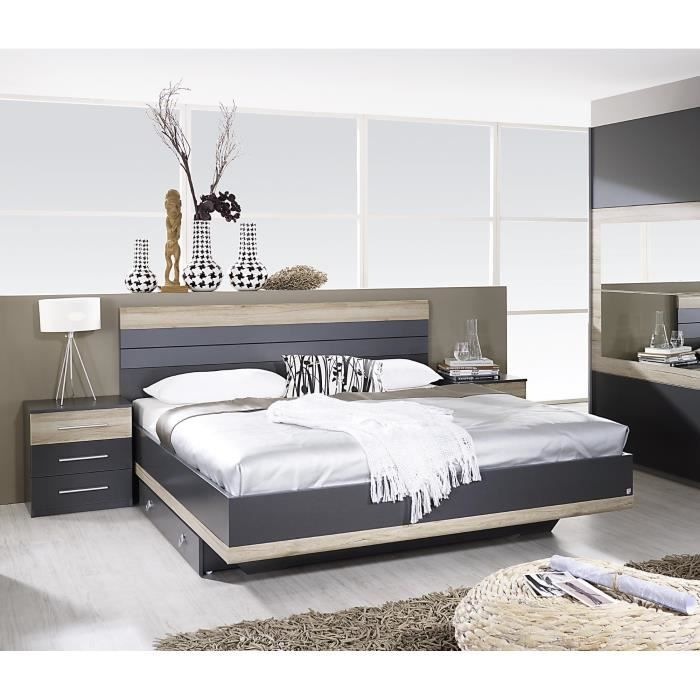 lit adulte contemporain avec chevets gris ch ne clair djaneiro 160 x 200 cm des lignes pur es. Black Bedroom Furniture Sets. Home Design Ideas