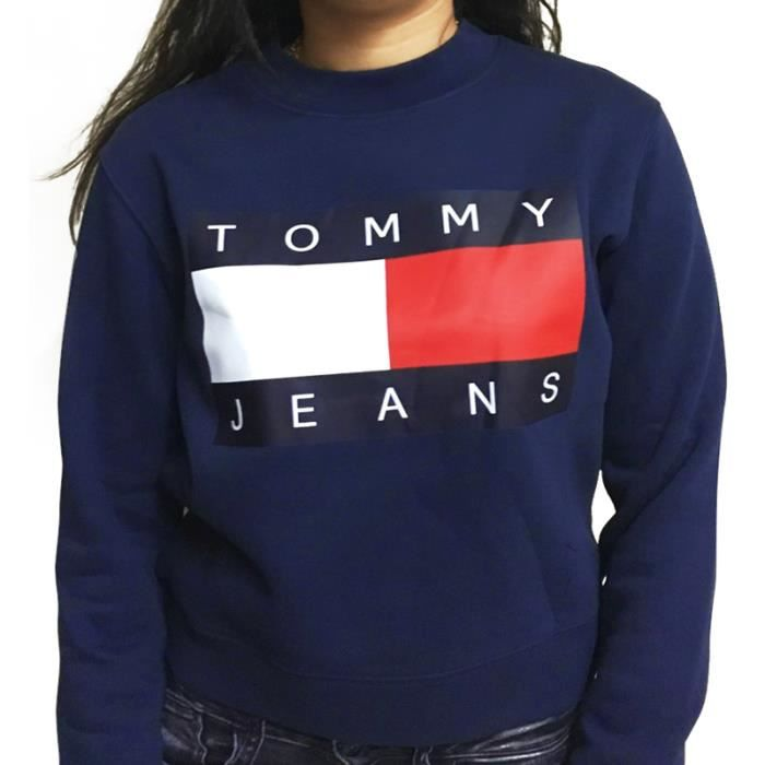pull tommy hilfiger femme 90 39 s 2 crop top bleu marine achat vente sweatshirt cdiscount. Black Bedroom Furniture Sets. Home Design Ideas