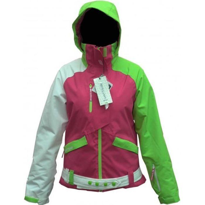 BLOUSON DE SKI Veste Ski Femme WATTS Buggy1 rose-vert-blanc 10549