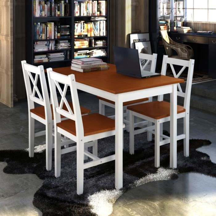 TABLE DE CUISINE  1 ensemble Table en bois + 4 chaises  Marron Ensem