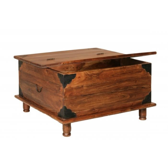 Table basse coffre en acacia 90 x 90 x 50 cm achat - Table basse en acacia ...