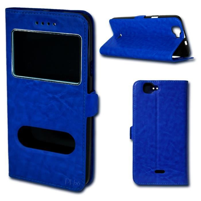 Etui coque housse bleu pour wiko lenny 3 4g by ph26 for Housse wiko lenny 4