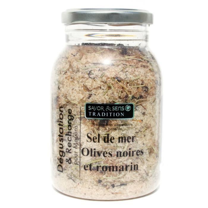 SEL Recharge pour moulin à sel 500gr Sel saveur olives
