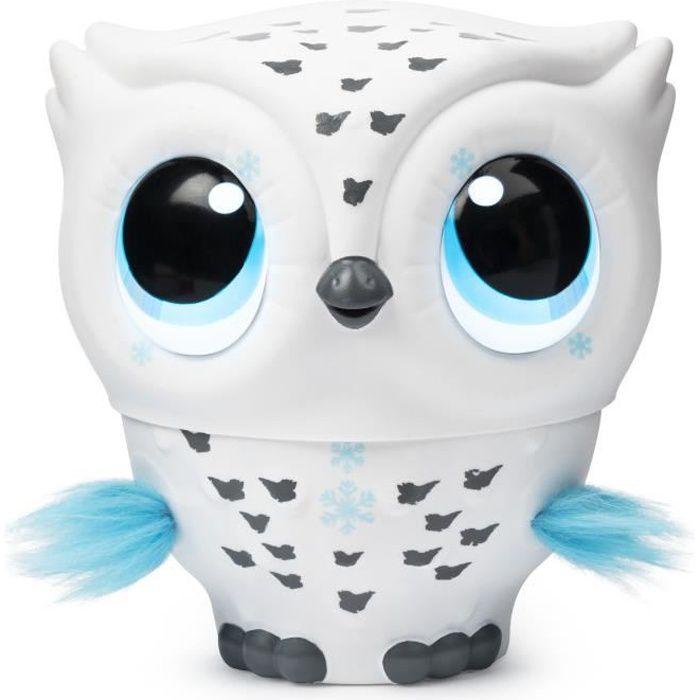 Owleez 6046148 Flying Baby Owl Interactive Toy avec lumières et sons Blanc