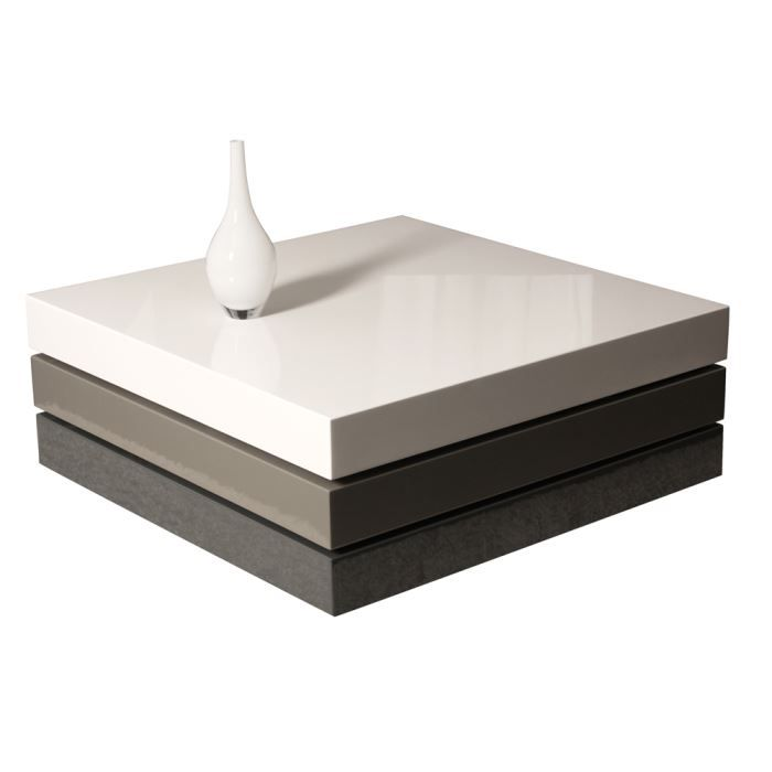 Table basse swithome look gris blanc achat vente table basse table basse - Table basse blanc gris ...