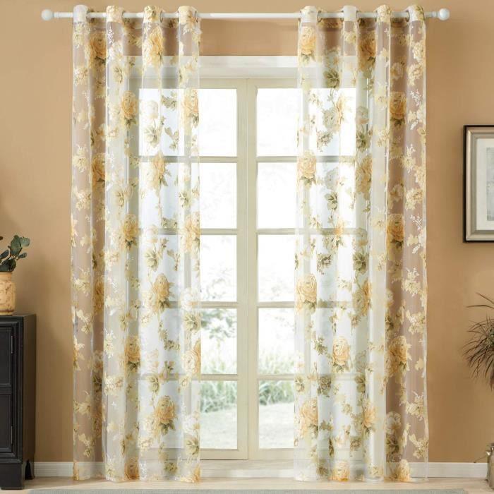 topfinel rideaux voilages de fenêtre fleurs violets