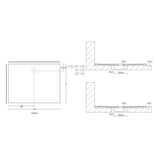 Bac /à douche 90x120 receveur de douche antiglisse rectangulaire blanc Sogood Lucia04AR 90X120X4