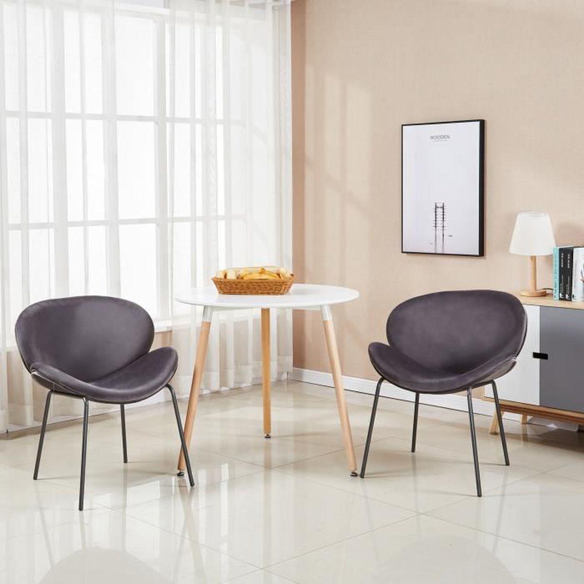 Salle A Manger Retro dora lot de 2 chaises de salle à manger en tissu velours