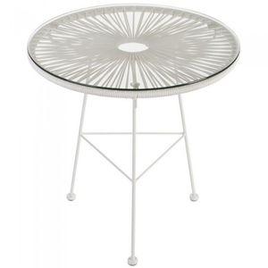 TABLE DE JARDIN  Table basse ronde Iris blanche Couleur Blanc Ma…