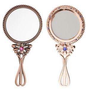 carr/é Grand miroir de poche noir uni avec poign/ée
