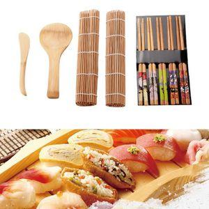 G/én/érique 13Pcs Set Kit de Fabrication de Sushi en Bambou Bureau F/ête de Famille Gadget de Sushi Fait Maison pour Les Amateurs de Nourriture avec des Baguettes de Cuill/ère /à Rideau de Sushi