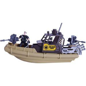 TRACTEUR - CHANTIER Bateau militaire avec 2 soldats et une moto milita