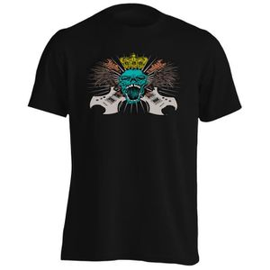 T-SHIRT T-shirt -Rock Music Skull with Guitars, Wings Crow