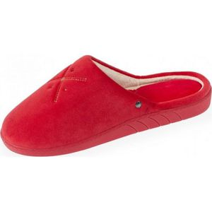 CHAUSSON - PANTOUFLE 93478-ABR - Chaussons rouge mules femme broderies