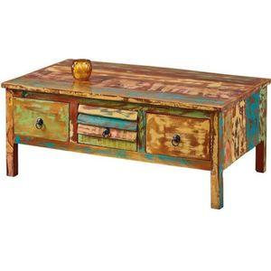 TABLE BASSE Table Basse en bois recyclé Multicolore - L110 x P